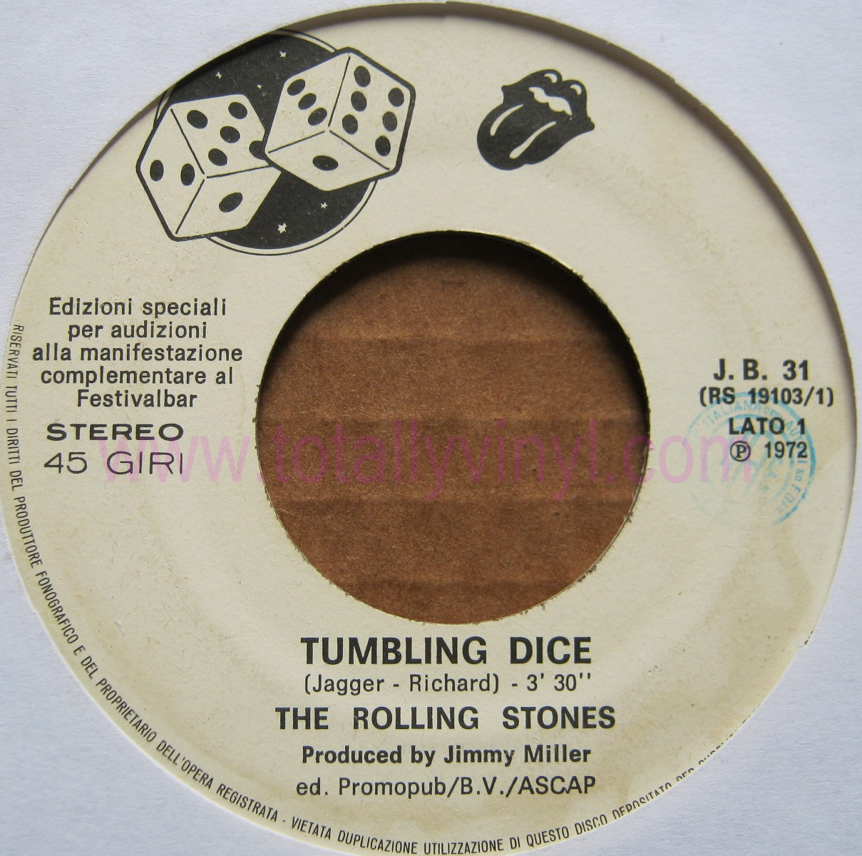Totally Vinyl Records Rolling Stones Tumbling Dice 7
