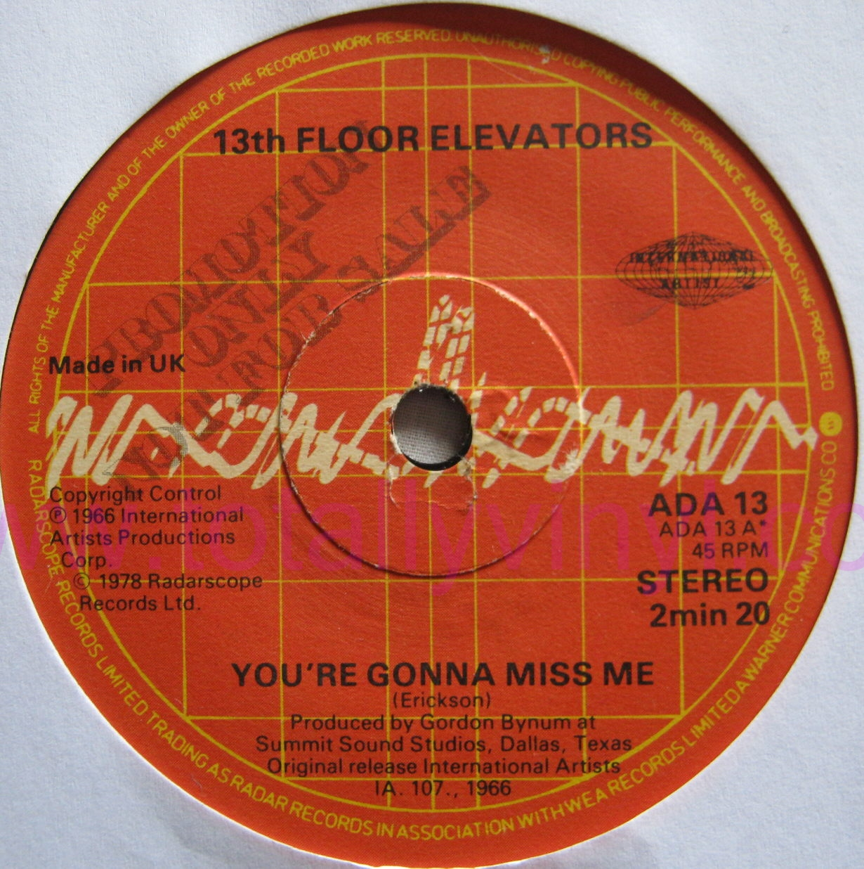Totally Vinyl Records Thirteenth Floor Elevators You