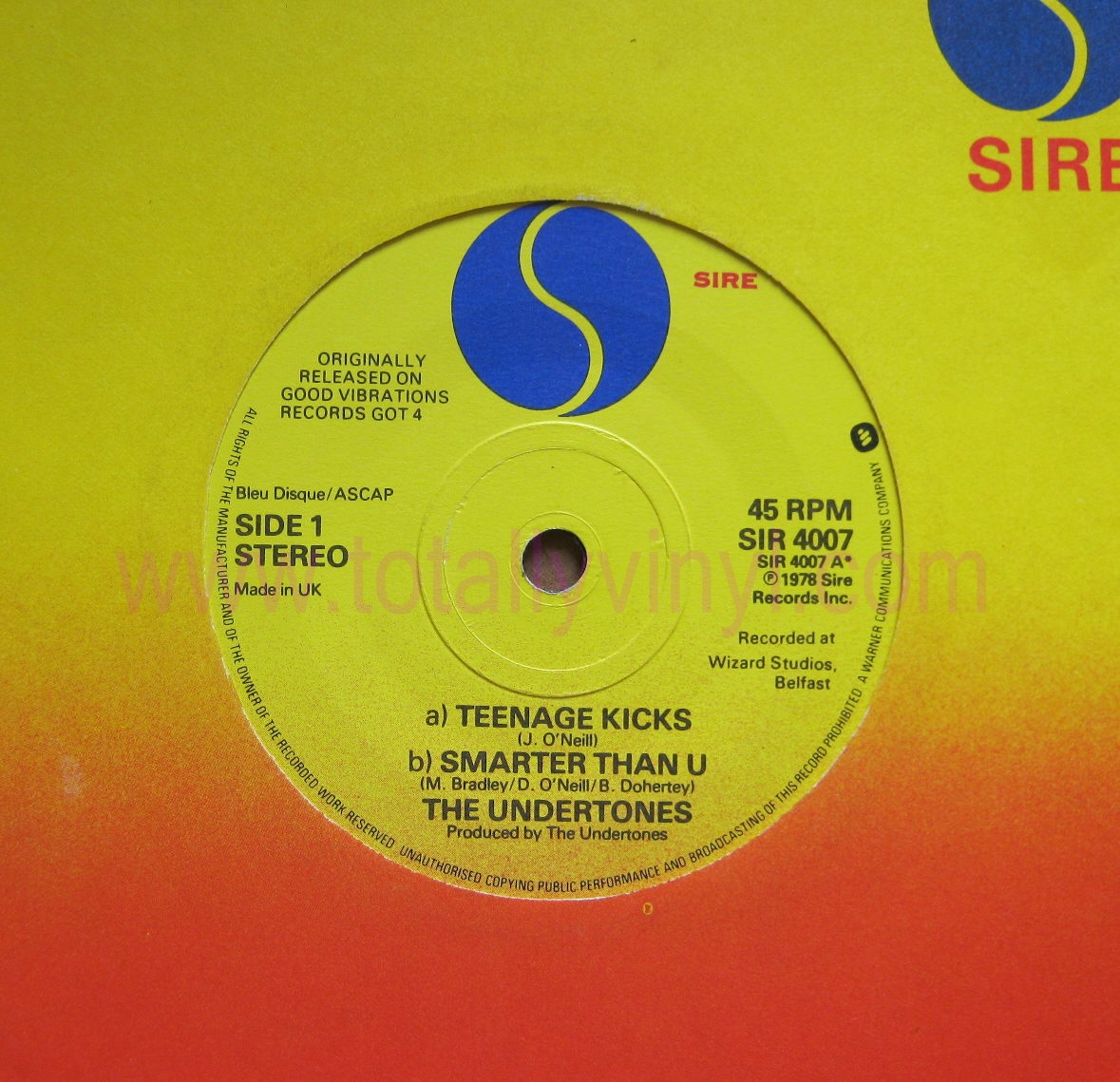 Totally Vinyl Records Undertones The Teenage Kicks 7