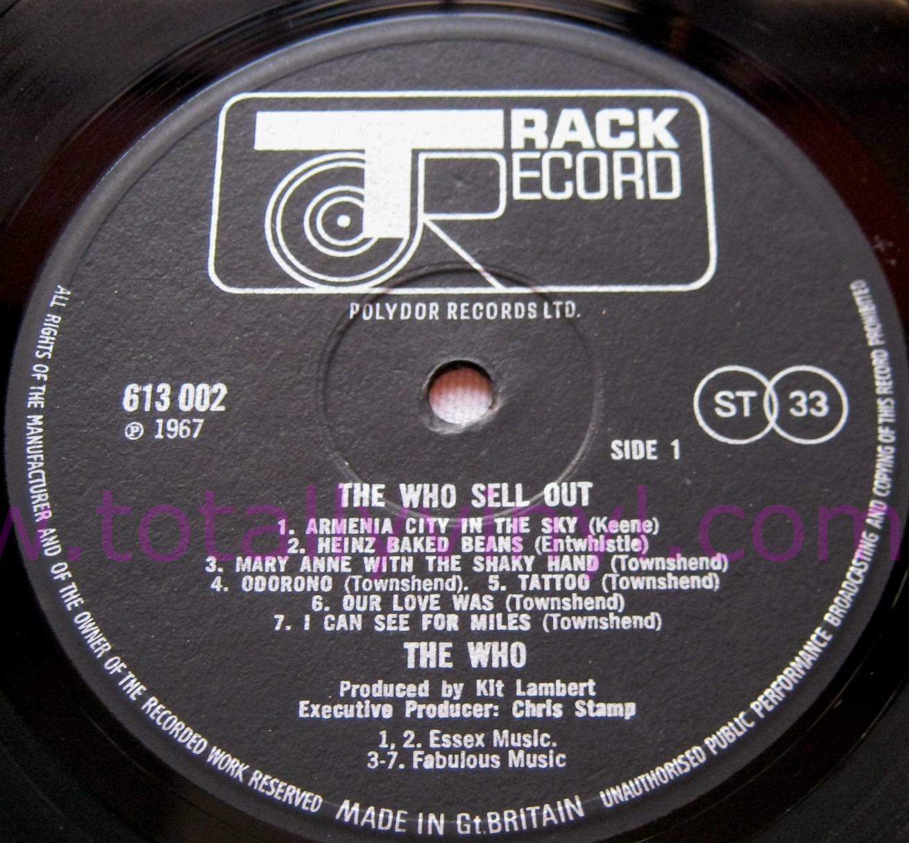 Totally Vinyl Records Who The The Who Sell Out With