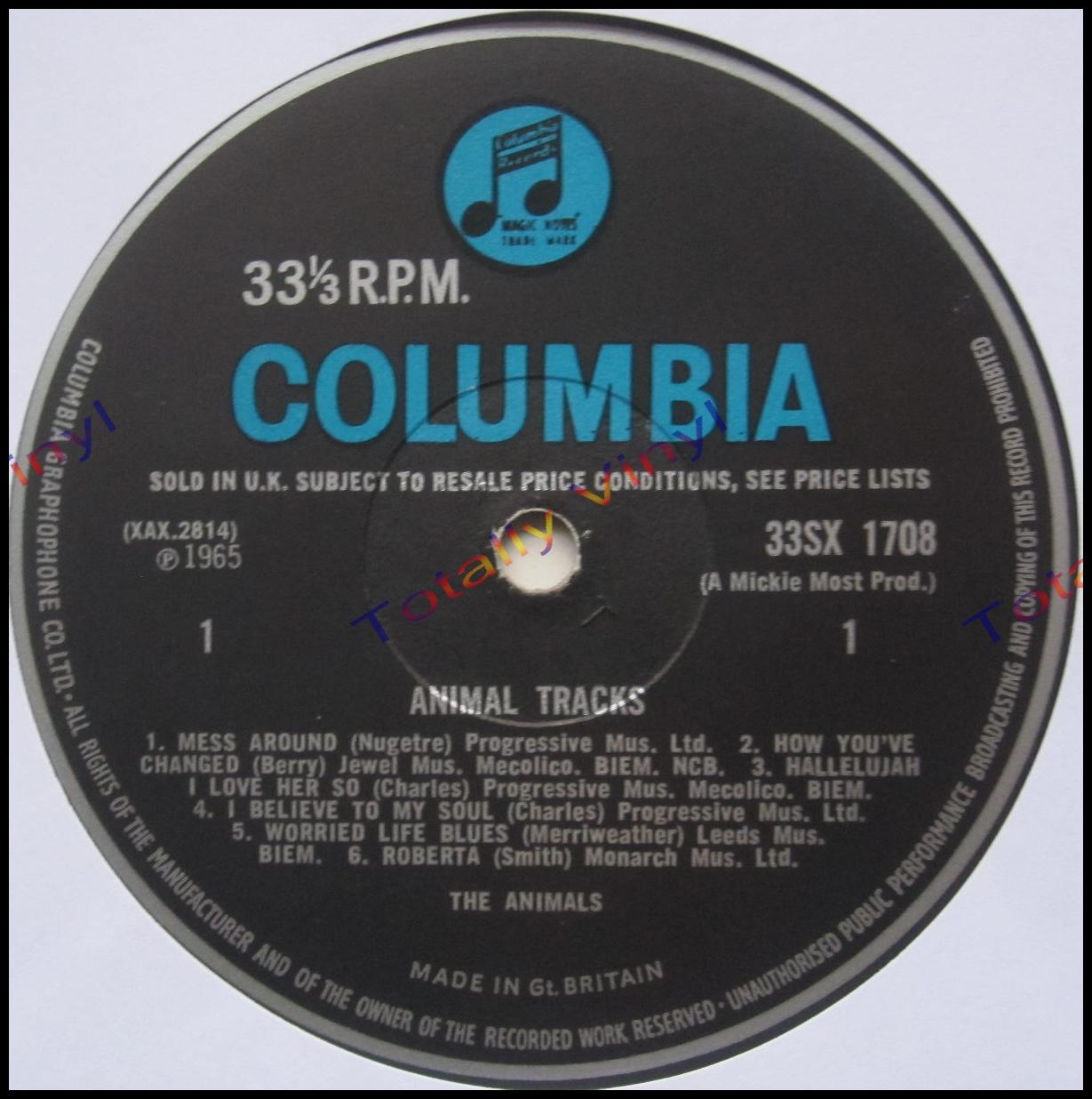 Totally Vinyl Records Animals The Animal Tracks Lp