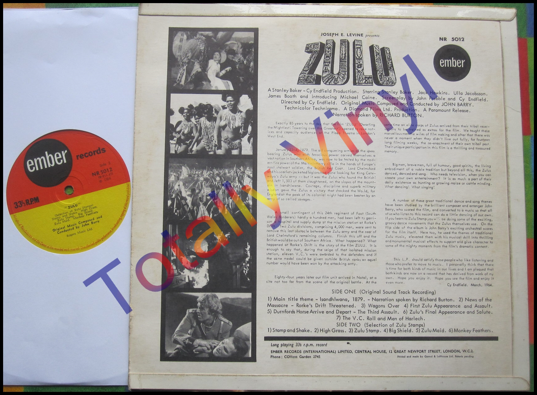 Totally Vinyl Records Barry John Zulu Soundtrack Lp