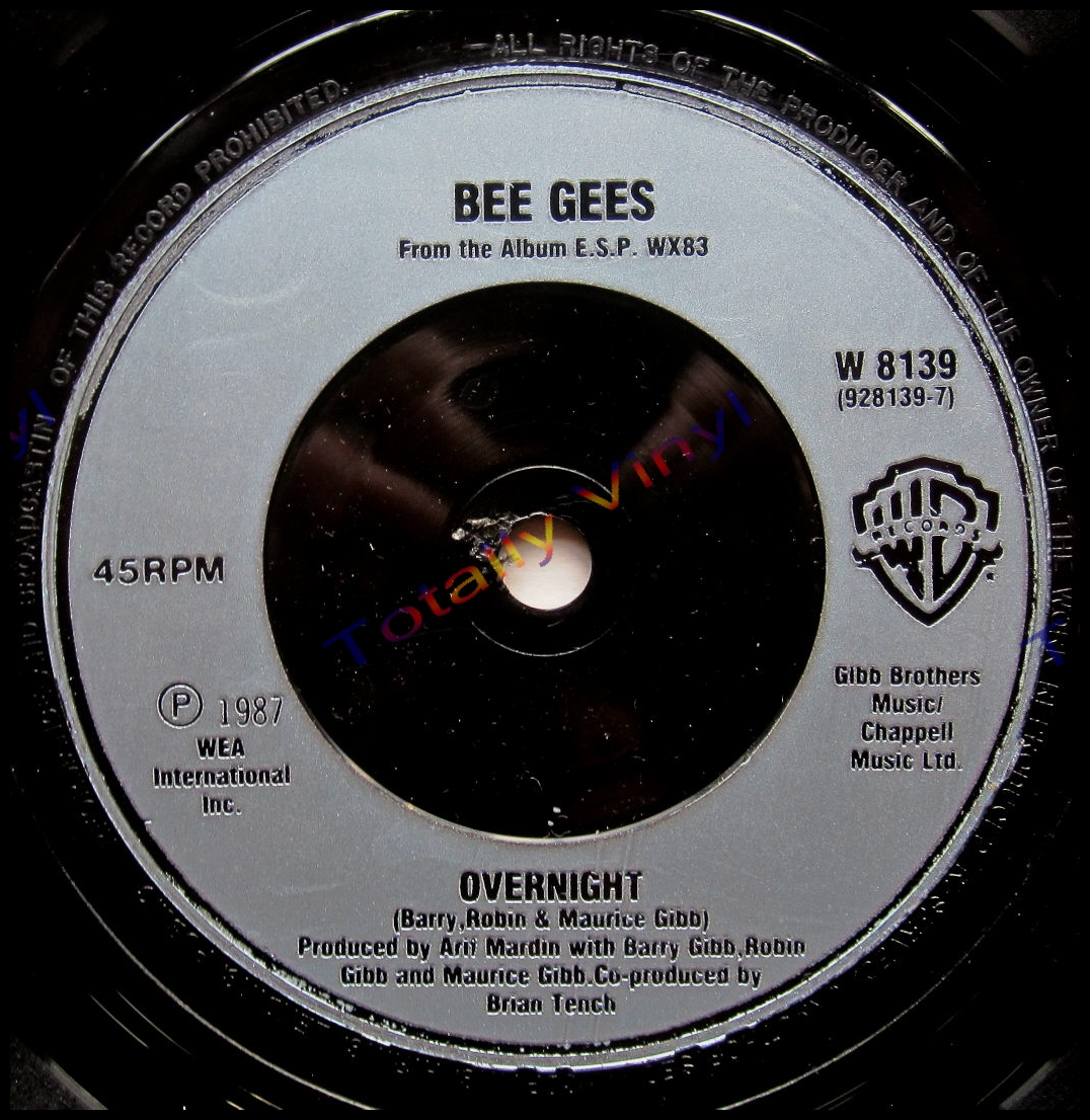Totally Vinyl Records Bee Gees Esp Overnight 7 Inch