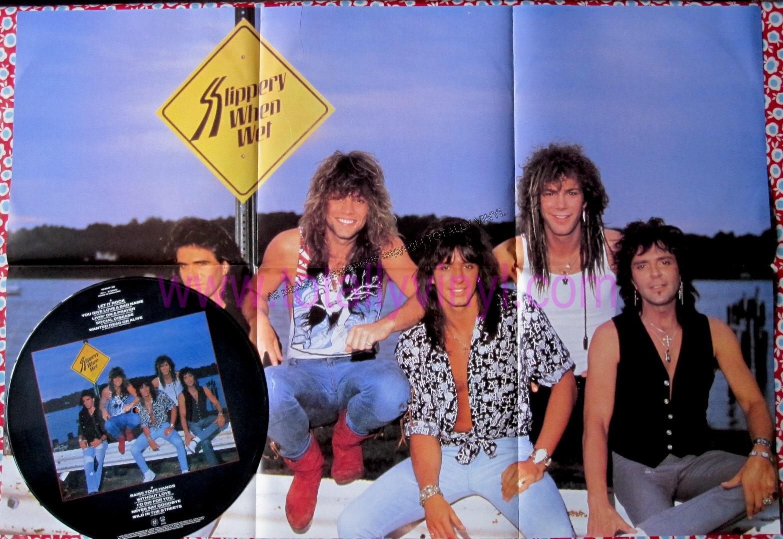Bon jovi - slippery when wet - vertigo - lp picture disc poster - 80s
