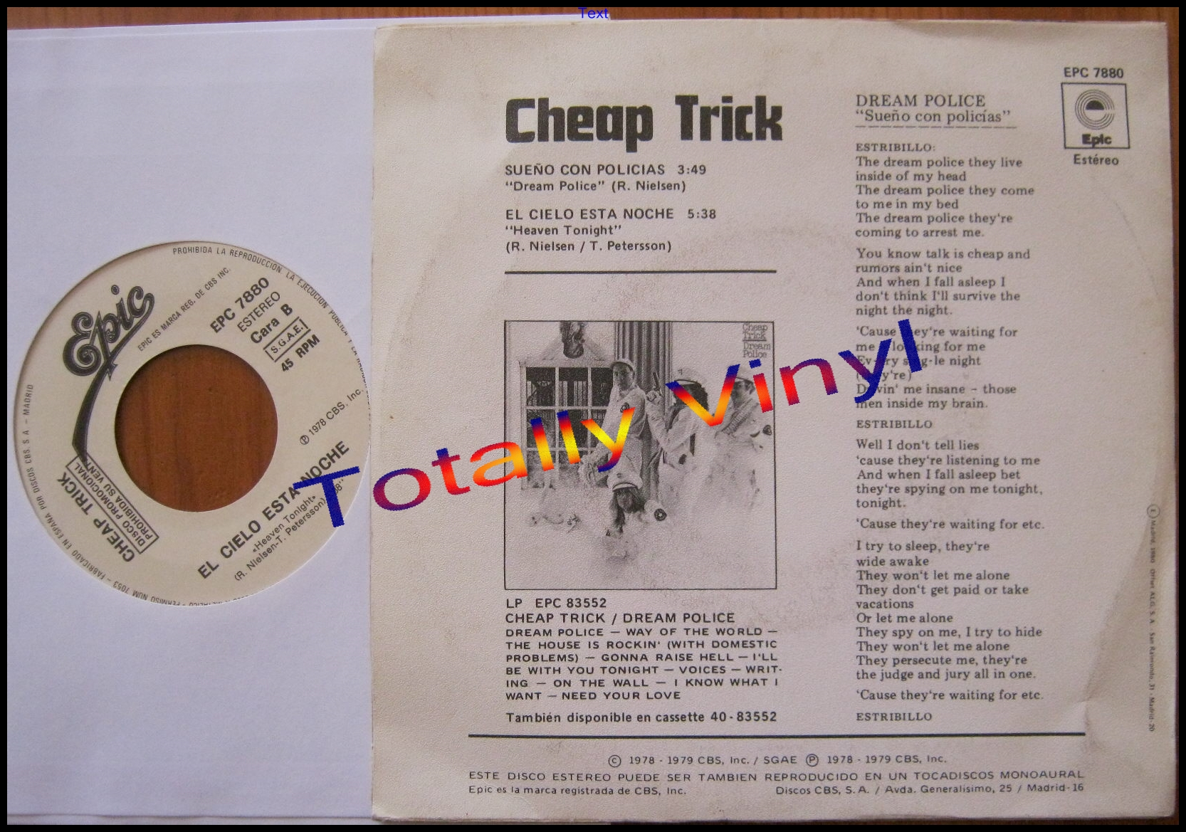 Totally Vinyl Records Cheap Trick Sueno Con Policias