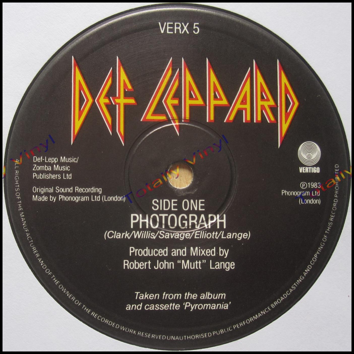 Totally Vinyl Records || Def Leppard - Photograph / Bringin