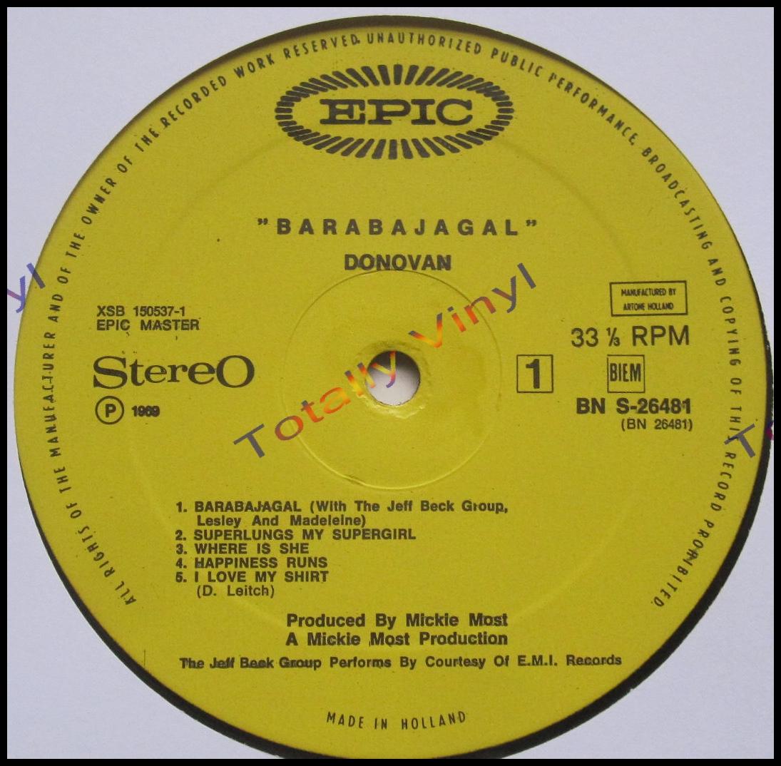 Totally Vinyl Records Donovan Barabajagal Lp