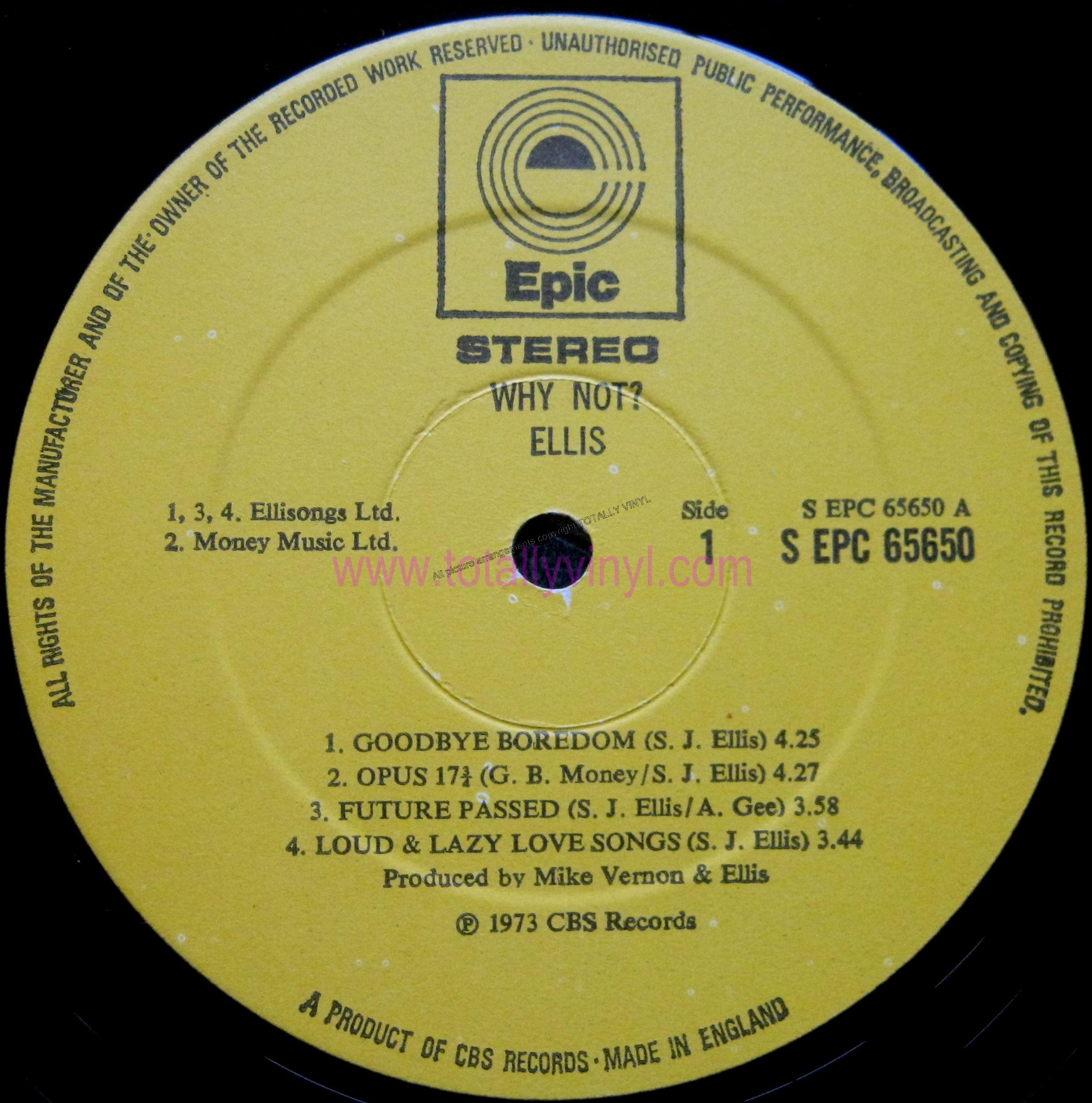 Totally Vinyl Records Ellis Why Not Lp Vinyl
