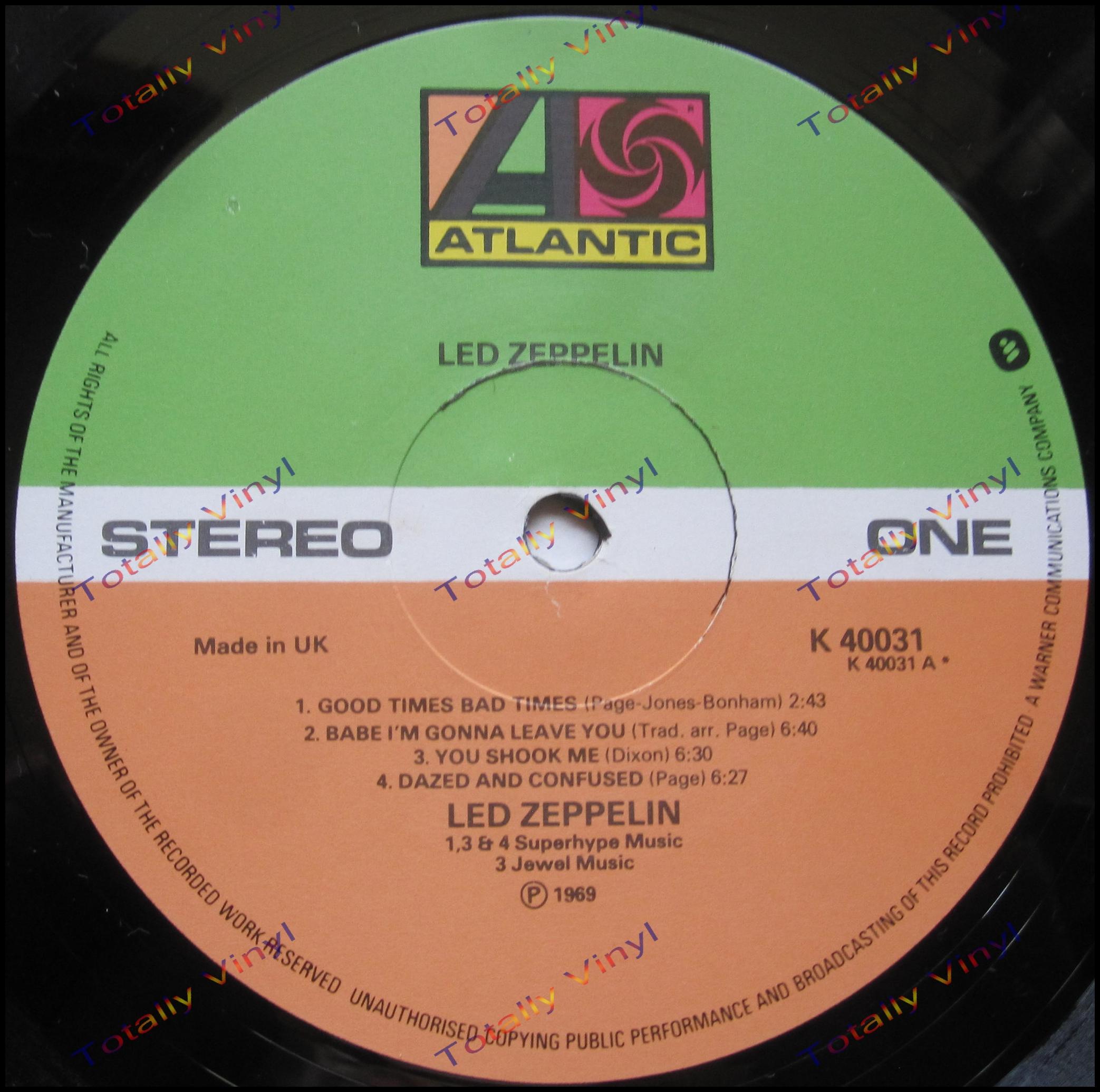 Totally Vinyl Records Led Zeppelin Led Zeppelin Lp