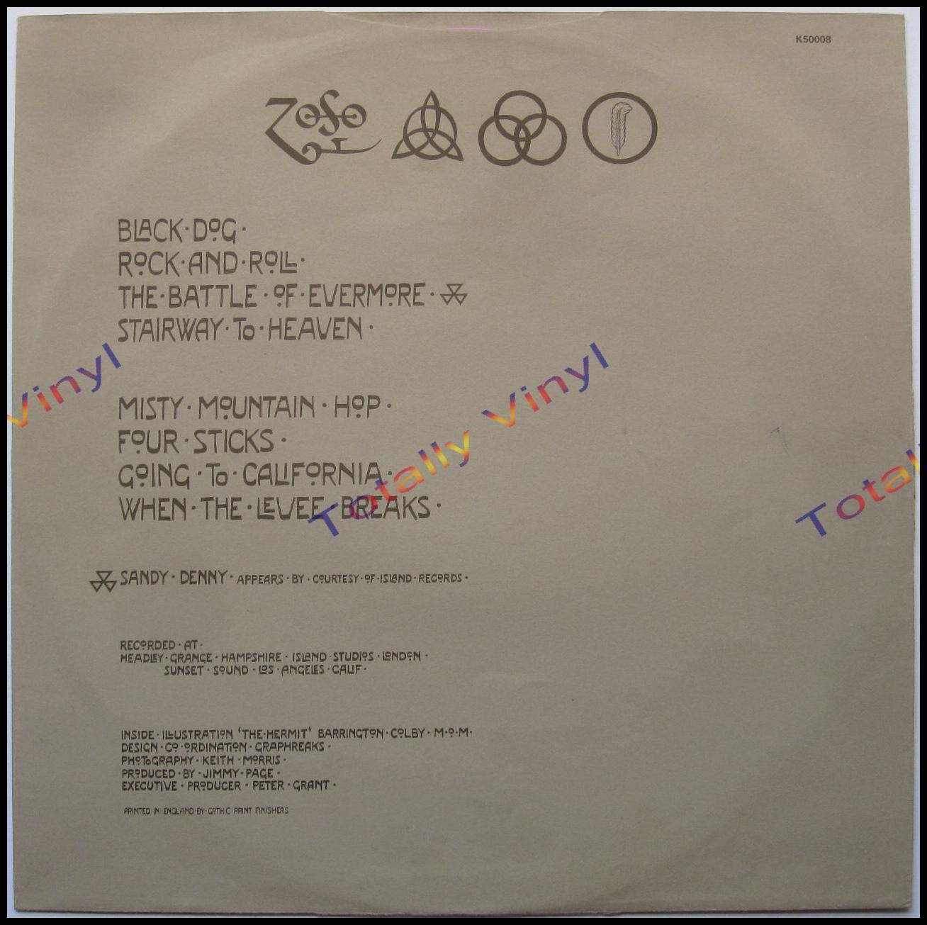 Totally Vinyl Records Led Zeppelin Led Zeppelin Iv