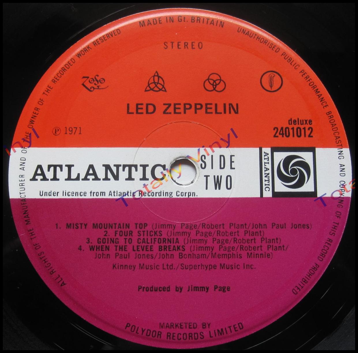 Totally Vinyl Records Led Zeppelin Led Zeppelin Iv Lp