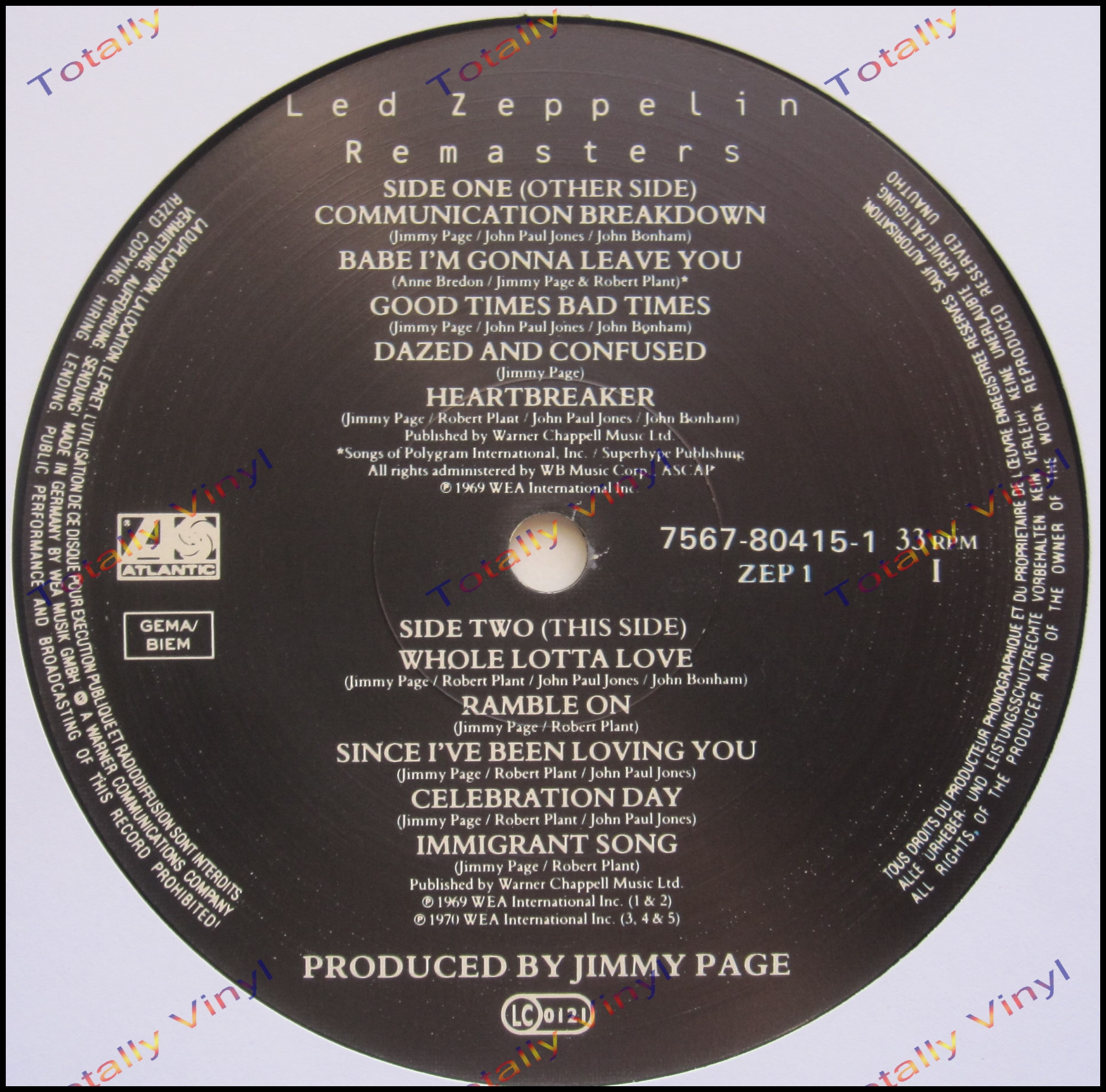 Totally Vinyl Records Led Zeppelin Remasters Lp