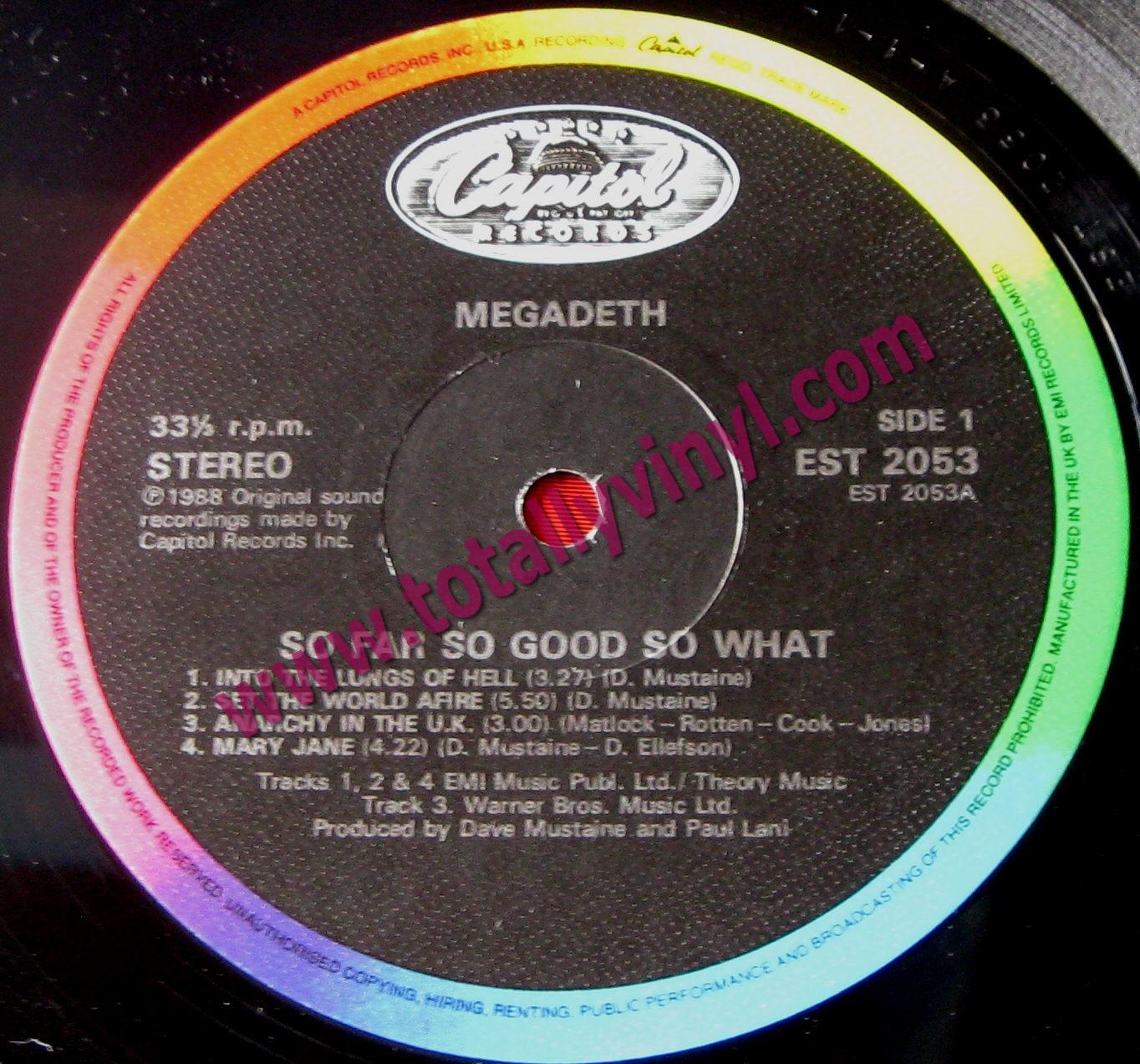 Totally Vinyl Records || Megadeth - So Far So Good So What