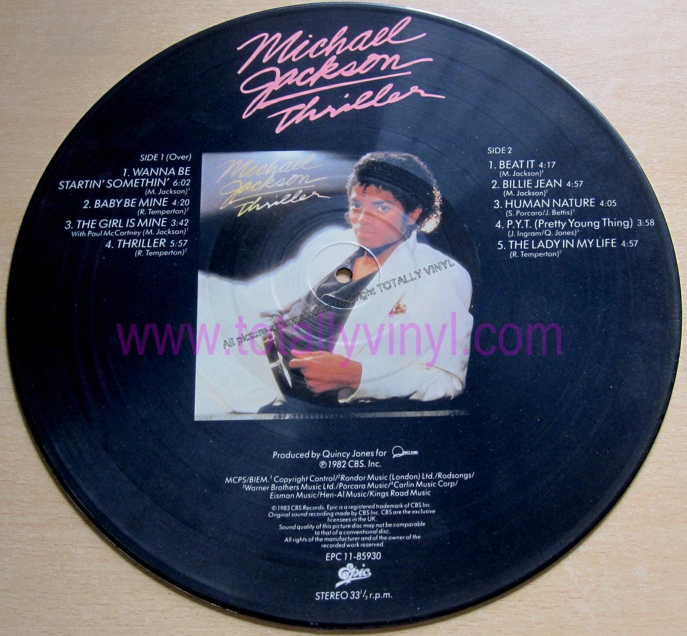 Totally Vinyl Records Jackson Michael Thriller Lp