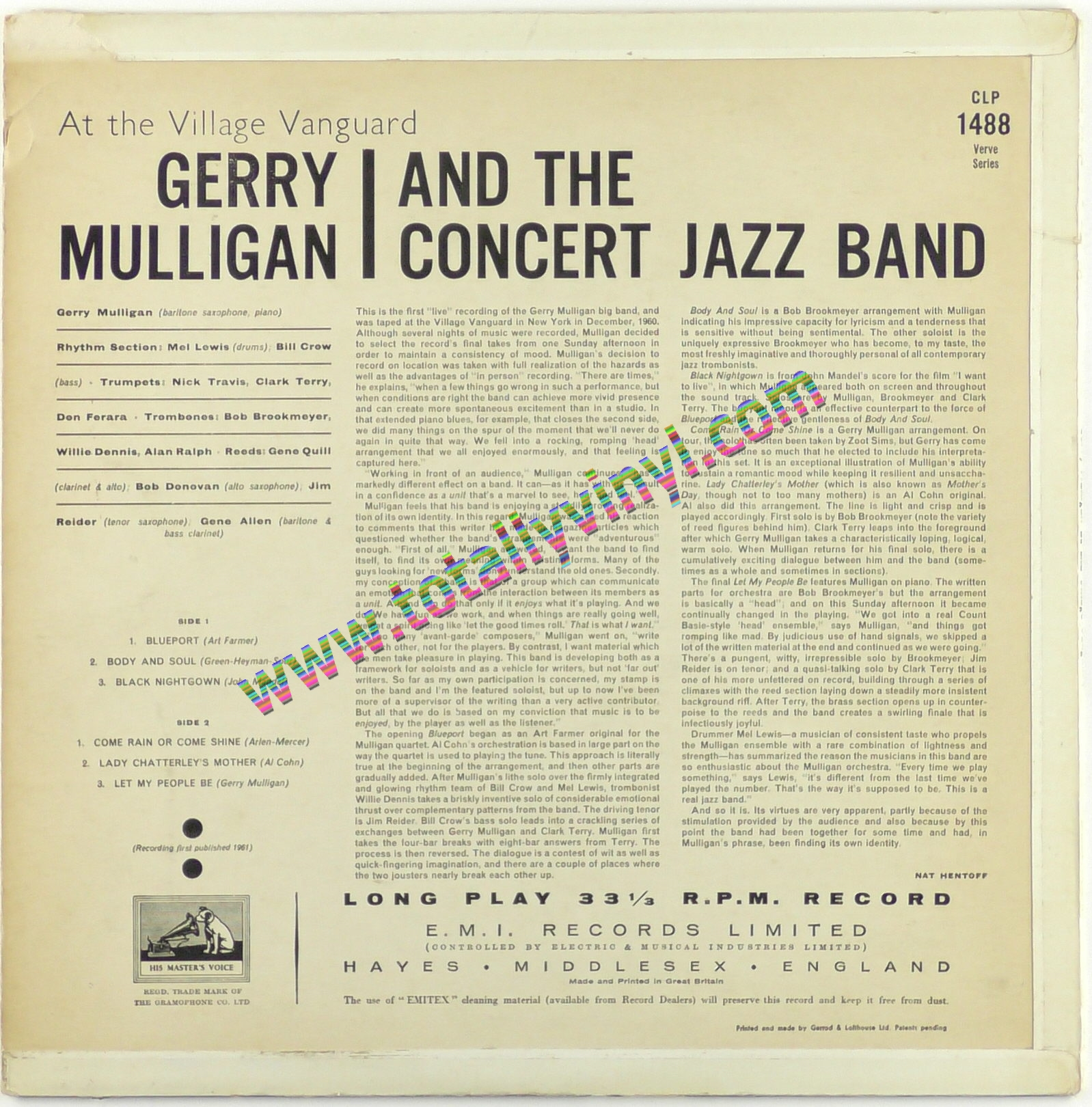 Totally Vinyl Records Mulligan And The Concert Jazz Band Gerry At The Village Vanguard Lp