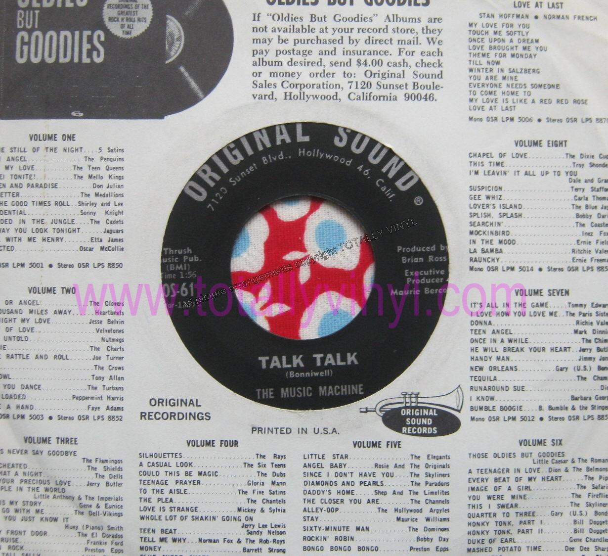 Totally Vinyl Records || Music Machine, The - Talk talk 7 Inch