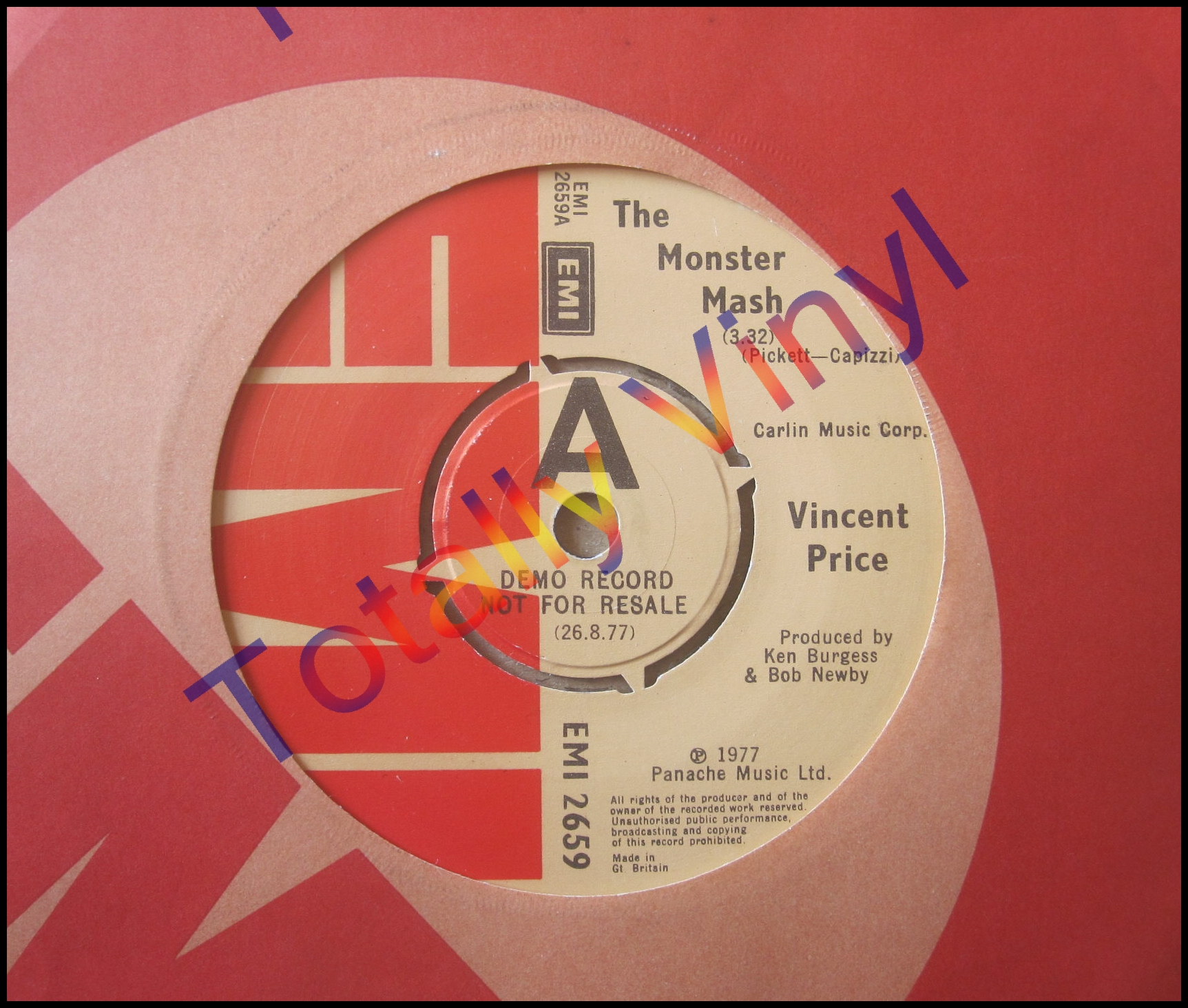 Totally Vinyl Records Price Vincent The Monster Mash