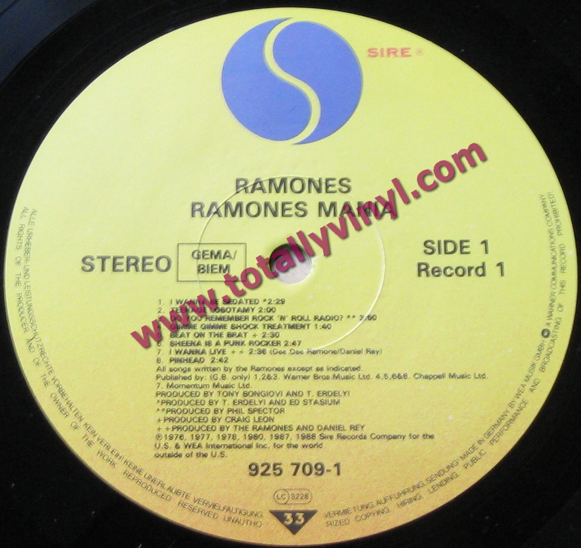 Totally Vinyl Records Ramones Ramones Mania Lp