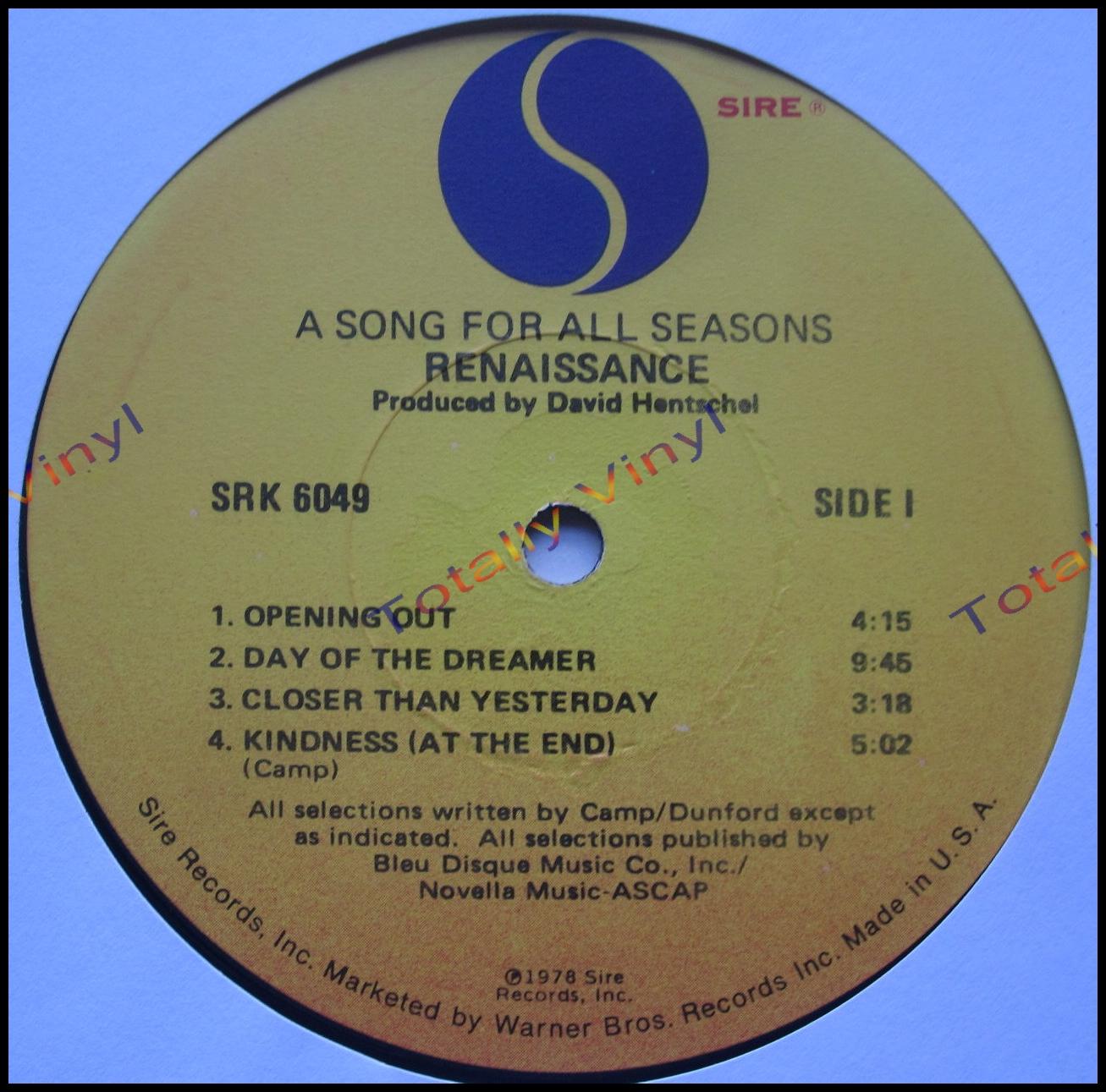 Totally Vinyl Records Renaissance A Song For All