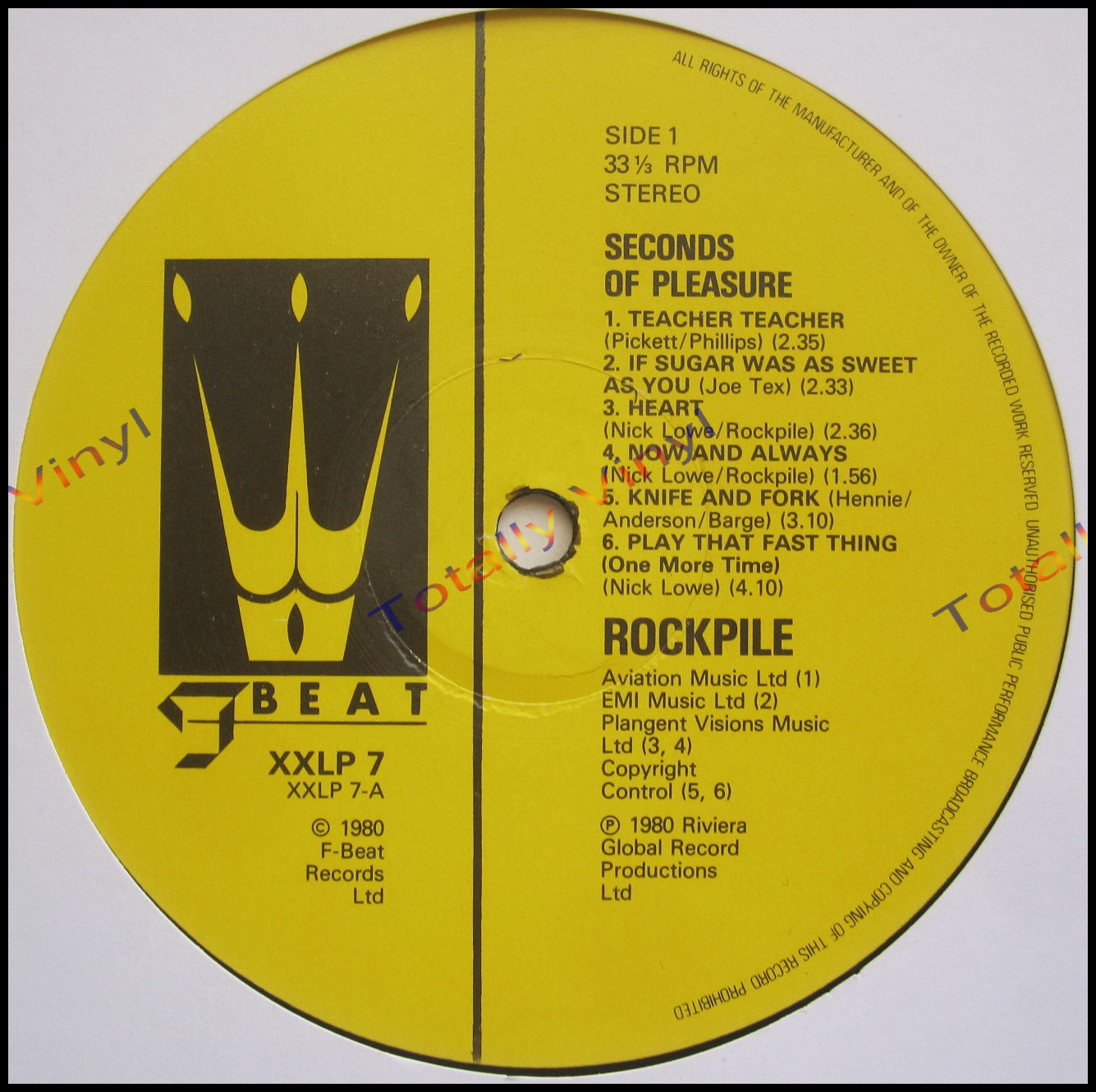Totally Vinyl Records Rockpile Seconds Of Pleasure 7