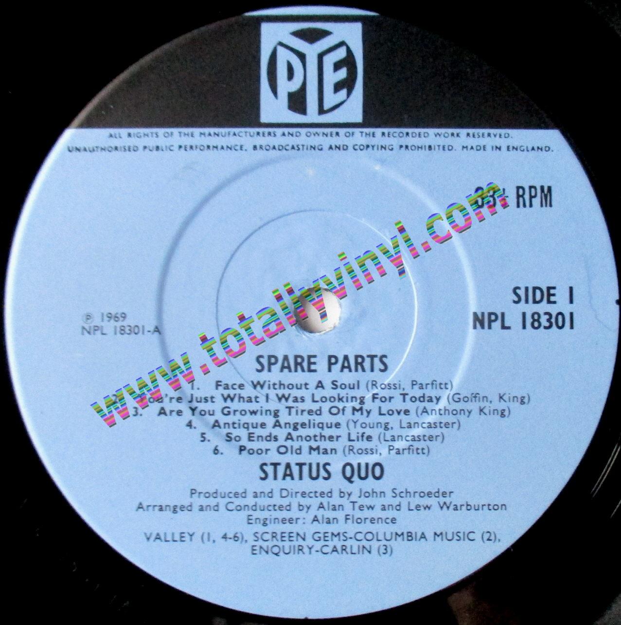 Totally Vinyl Records Status Quo Spare Parts Lp