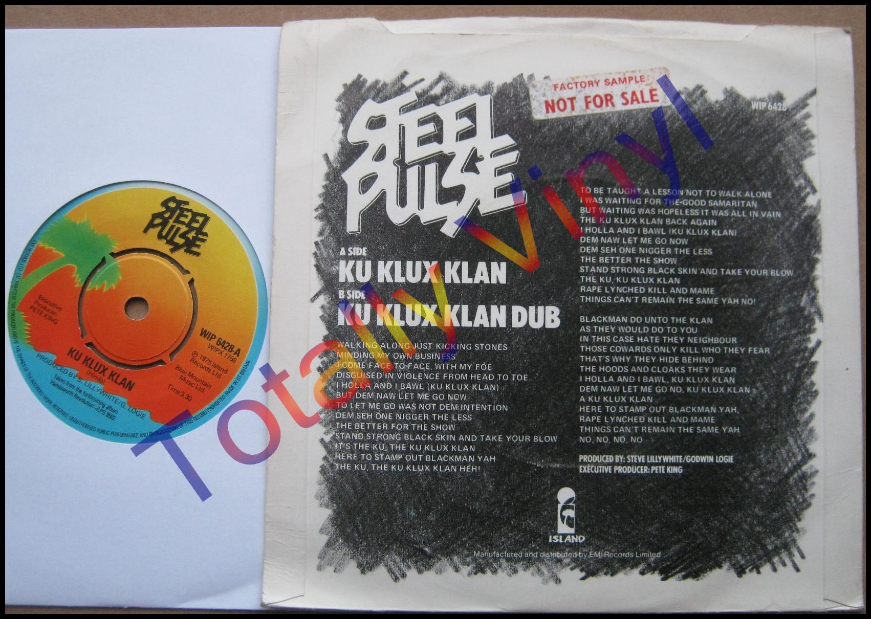 Totally Vinyl Records Steel Pulse Ku Klux Klan Dub