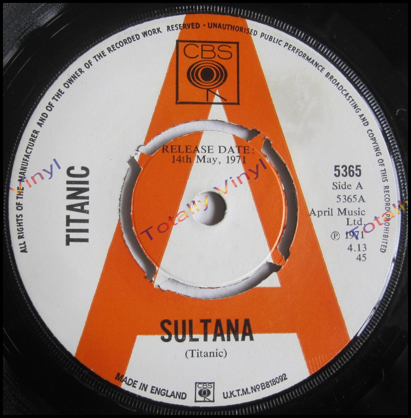 Totally Vinyl Records || Titanic - Sultana / Sing fool sing