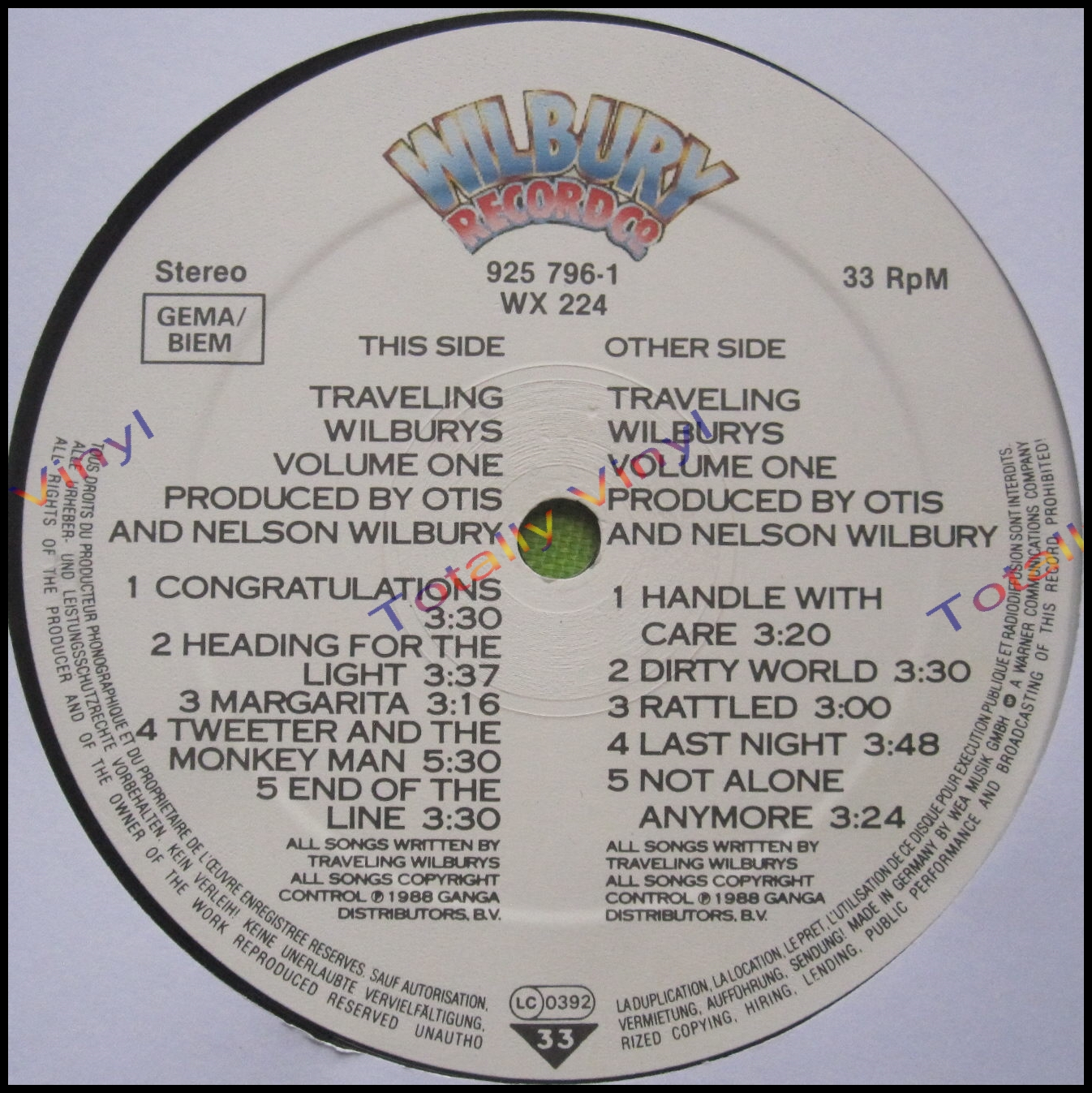 Totally Vinyl Records Traveling Wilburys The