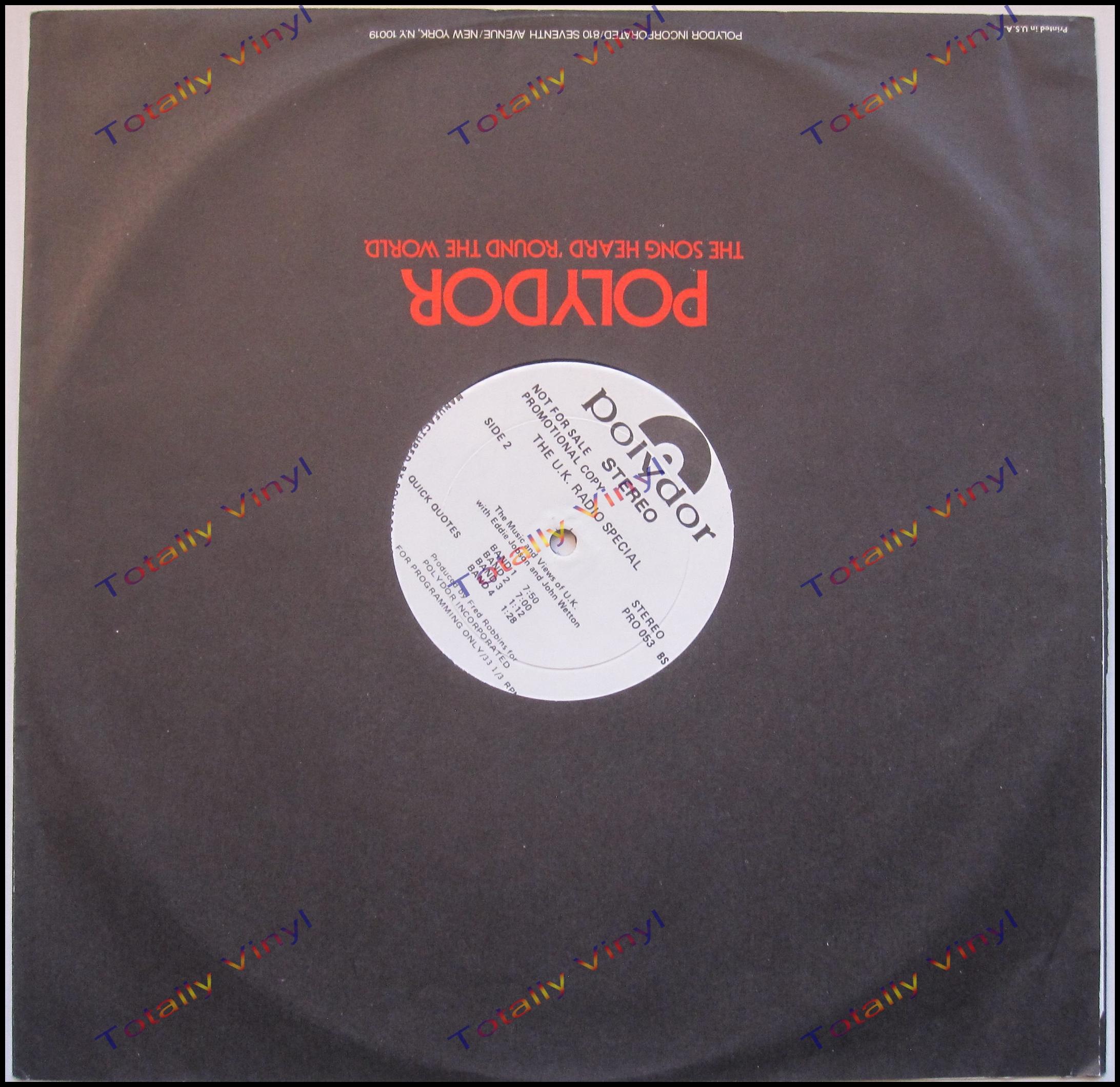 Totally Vinyl Records U K Uk Radio Special Lp