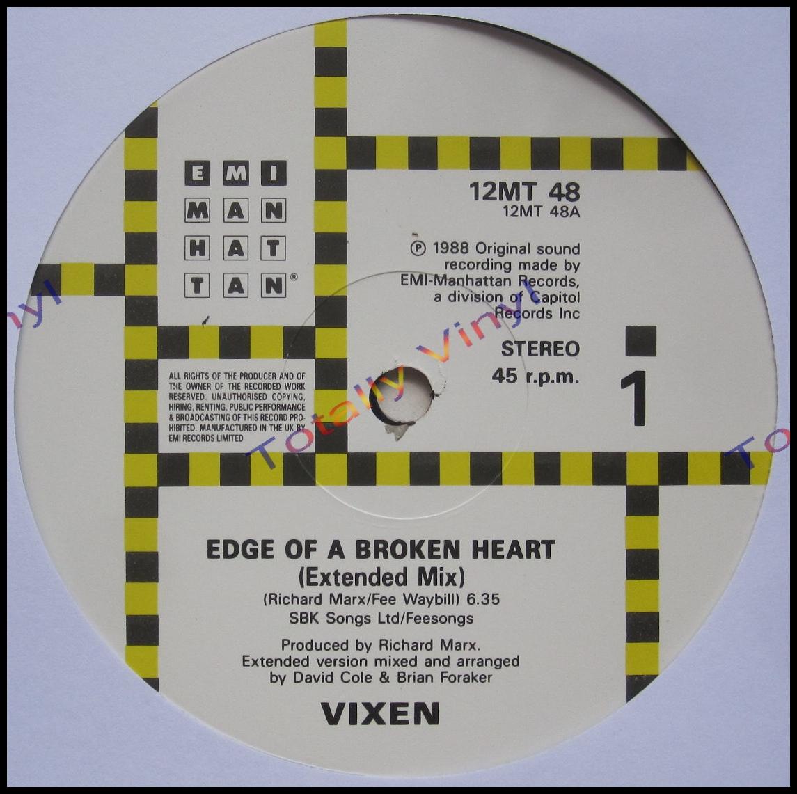 Totally Vinyl Records Vixen Edge Of A Broken Heart