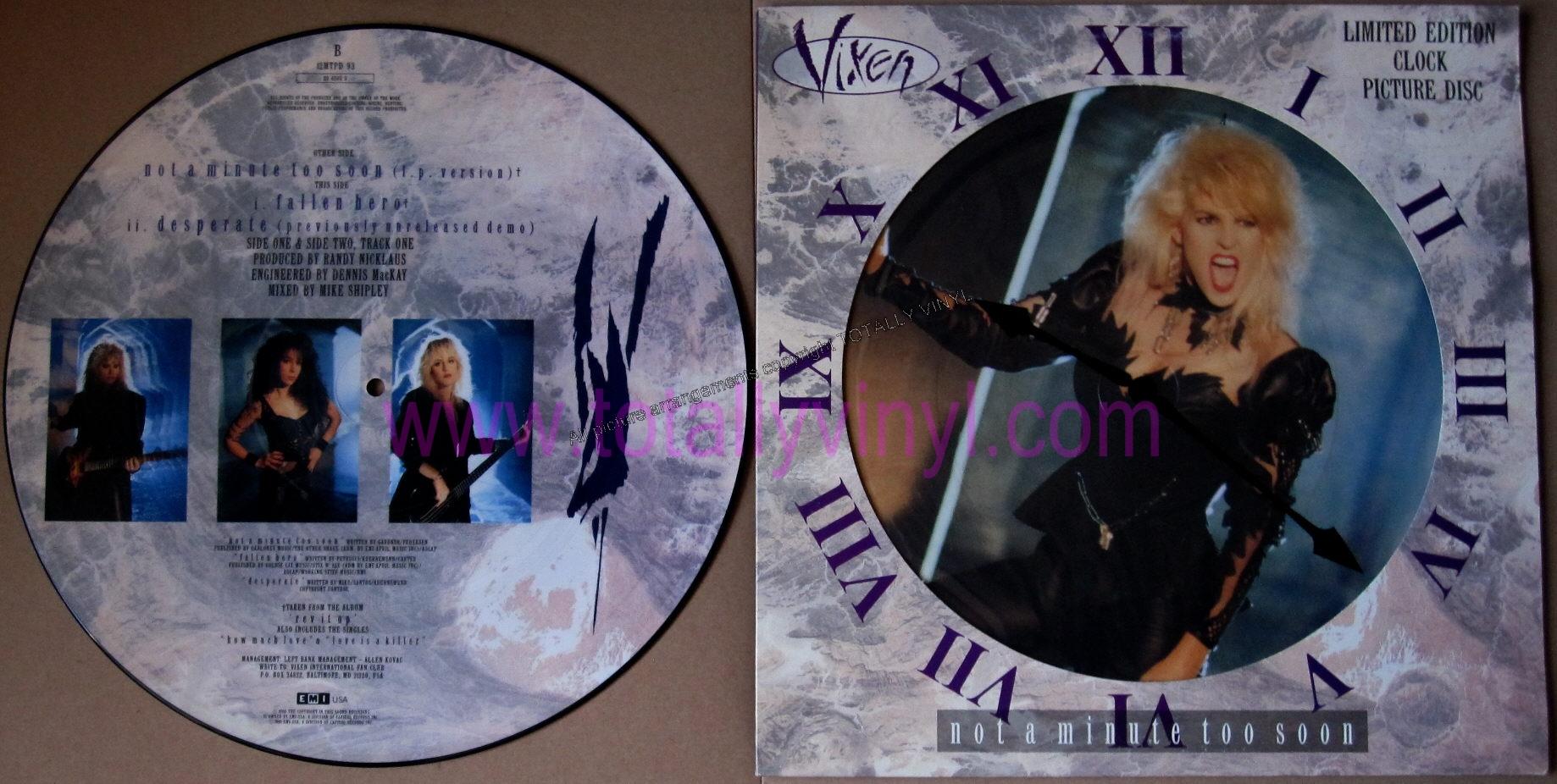 Totally Vinyl Records Vixen Not A Minute Too Soon Lp