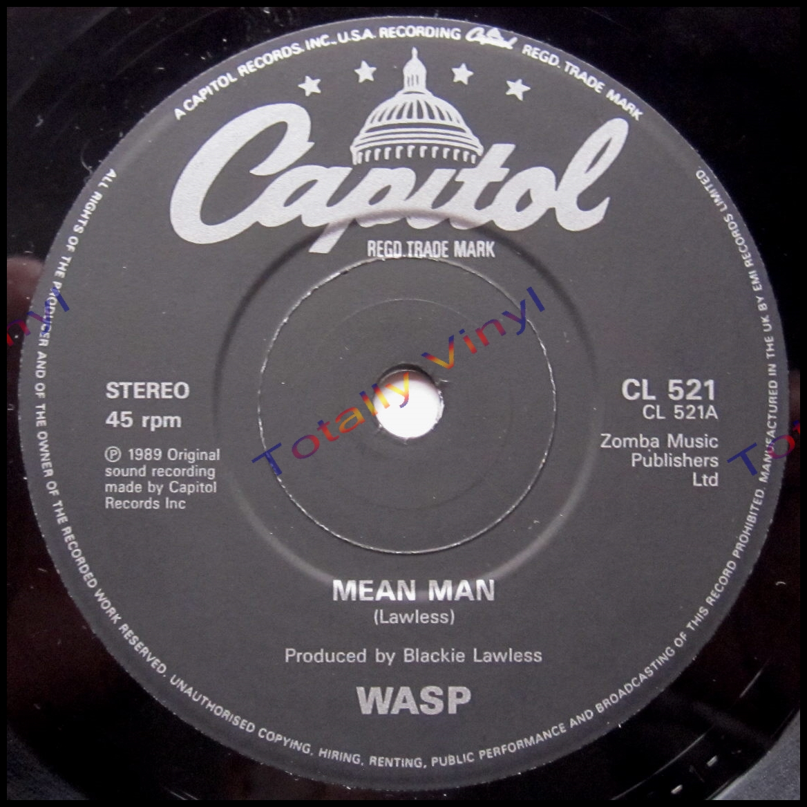 Totally Vinyl Records Wasp W A S P Mean Man