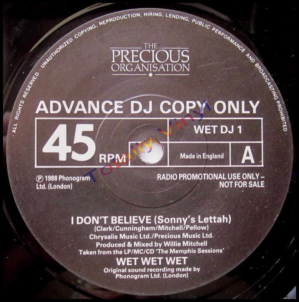 Totally Vinyl Records Wet Wet Wet I Don T Believe